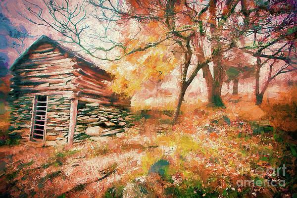 Wall Art - Painting - Cabin In An Autumn Fog Ap by Dan Carmichael