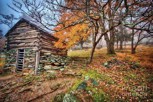 Wall Art - Photograph - Cabin In An Autumn Fog by Dan Carmichael