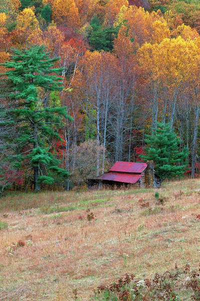 Log House Photograph - Cabin In Late Autumn In West Virginia by Robert Finken