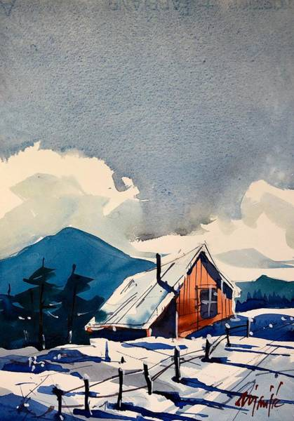 Wall Art - Painting - Cabin In The Snow 2 by Ugljesa Janjic