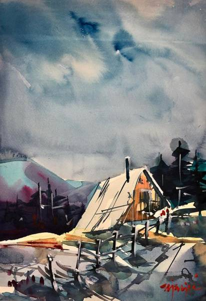 Wall Art - Painting - Cabin In The Snow by Ugljesa Janjic
