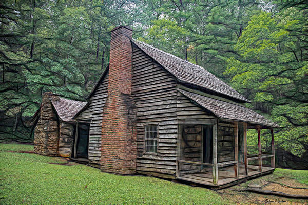 Digital Art - Cabin In The Woods - Fractals by Ericamaxine Price