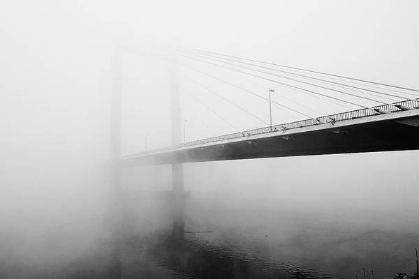 Cable-stayed Bridge Photograph - Cable Bridge Disappears In Fog by Photos By Sonja