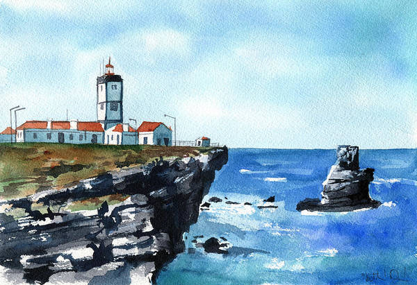 Painting - Cabo Carvoeiro Lighthouse In Peniche Portugal by Dora Hathazi Mendes