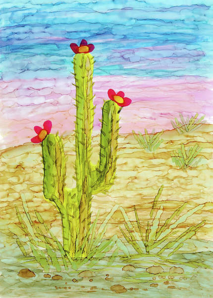 Painting - Cactus In The Desert by Susan Campbell
