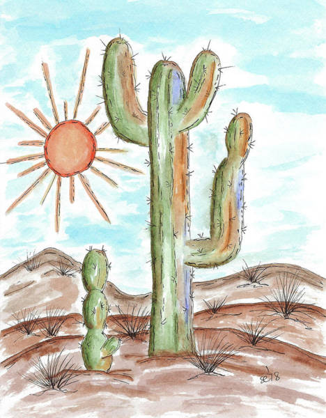 Painting - Cactus In The Sun by Susan Campbell