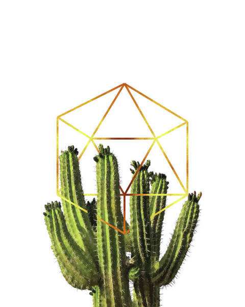 Desert Mixed Media - Cactus - Minimal Cactus Poster - Tropical Print-  Botanical - White, Gold, Green - Modern, Minimal by Studio Grafiikka