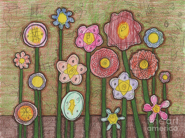 Painting - Caden's Folk Art Floral 1 by Amy E Fraser and Caden Fraser Perkins