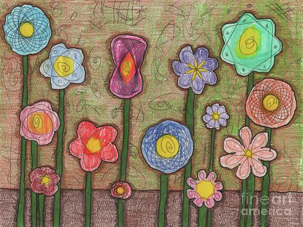 Painting - Caden's Folk Art Floral 2 by Amy E Fraser and Caden Fraser Perkins