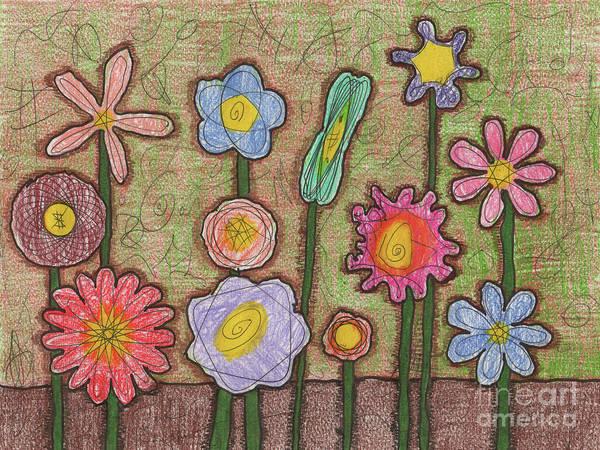 Painting - Caden's Folk Art Floral 3 by Amy E Fraser and Caden Fraser Perkins