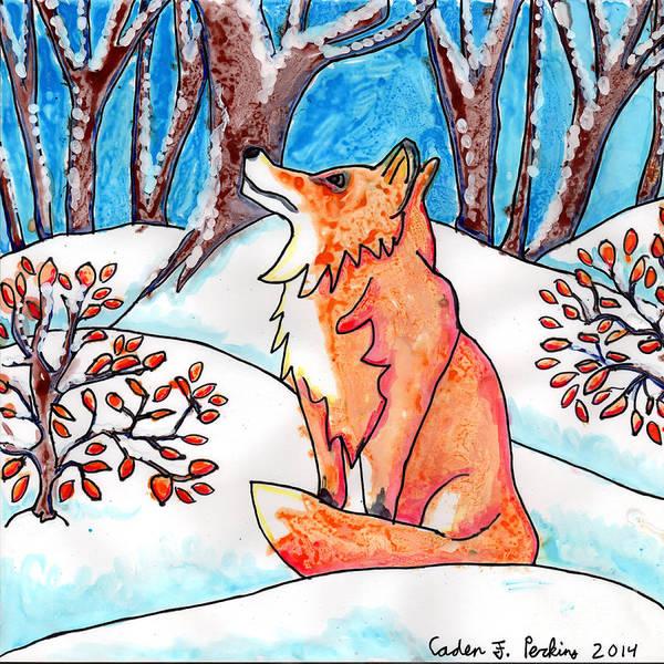 Painting - Caden's Fox 2 by Amy E Fraser and Caden Fraser Perkins