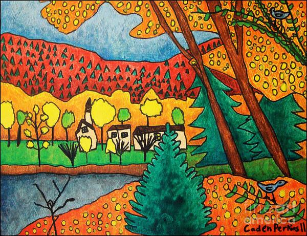 Painting - Caden's Landscape 3 by Amy E Fraser and Caden Fraser Perkins