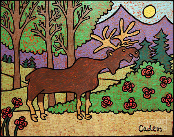 Painting - Caden's Moose by Amy E Fraser and Caden Fraser Perkins