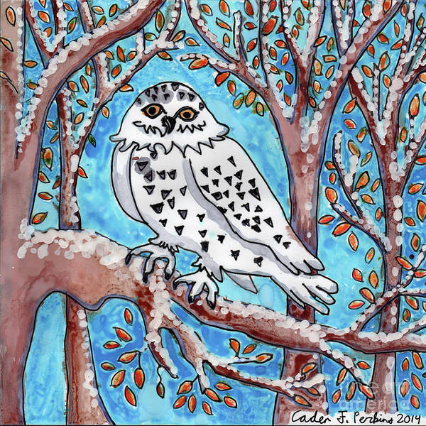 Painting - Caden's Owl by Amy E Fraser and Caden Fraser Perkins