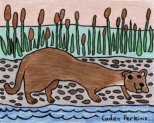Drawing - Caden's River Otter by Amy E Fraser and Caden Fraser Perkins