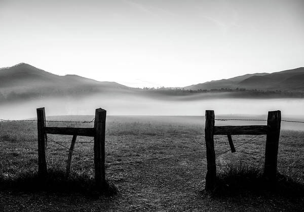 Photograph - Cades Cove Entrance Black And White by Dan Sproul