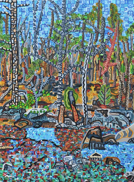 Wall Art - Painting - Cade's Land Trail Along The Eno by Micah Mullen