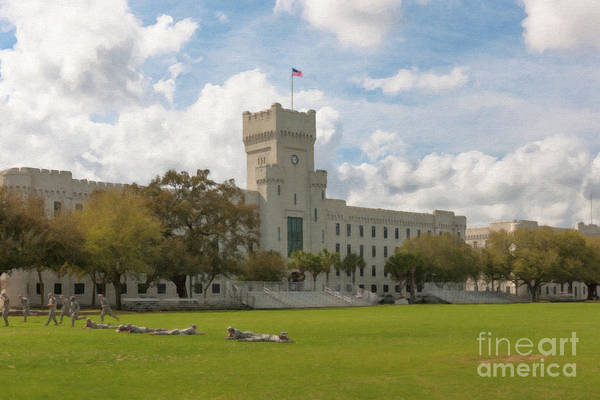 Painting - Cadet Drills - The Citadel Military College by Dale Powell