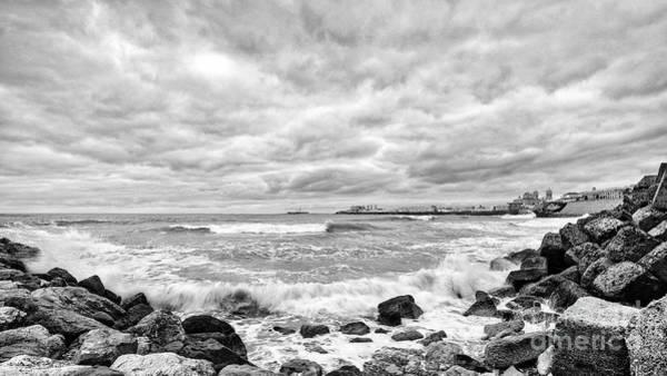 Photograph - Cadiz Skyline From Santa Maria Del Mar Beach Spain Black And White by Pablo Avanzini