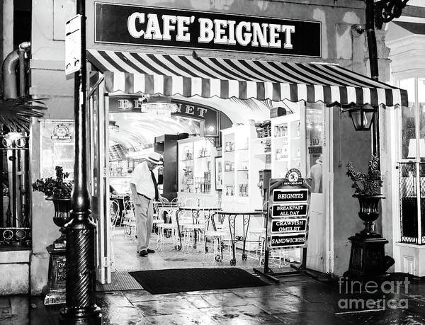 Photograph - Cafe Beignet At Night In New Orleans by John Rizzuto