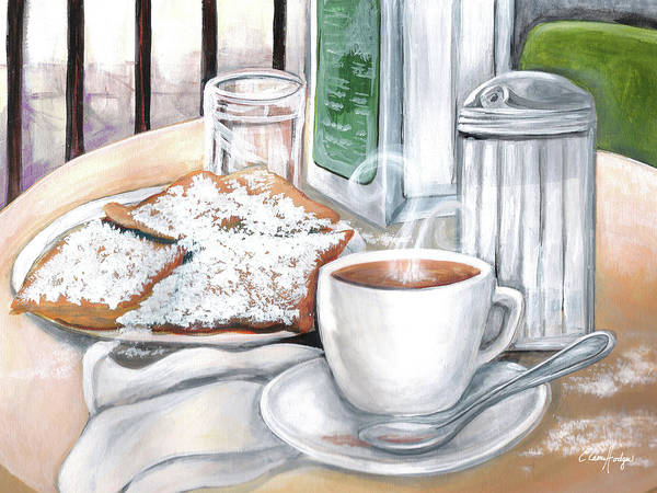 Doughnut Painting - Cafe Du Monde Table by Elaine Hodges