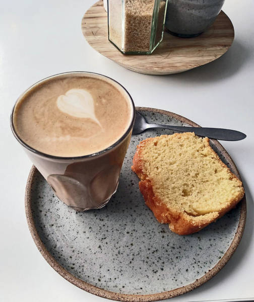 Photograph - Cafe. Latte And Cake.  by Lachlan Main