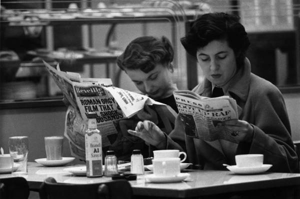 Newspaper Photograph - Cafe Papers by Bert Hardy