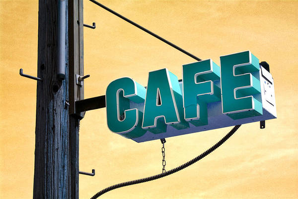 Advertisement Wall Art - Mixed Media - Cafe Route 66 by Carol Leigh