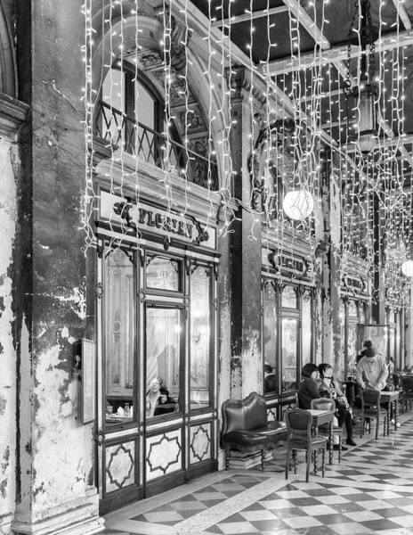 Photograph - Caffe Florian Venice In Black And White by Georgia Fowler