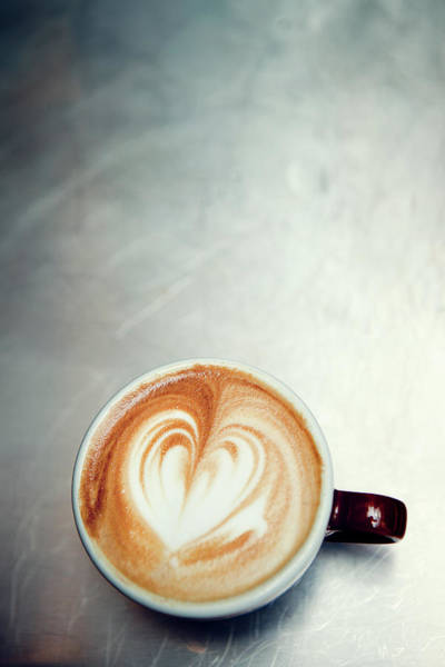 Bar Counter Photograph - Caffe Macchiato Heart Shape On Brushed by Ryanjlane