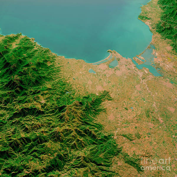 Wall Art - Digital Art - Cagliari Sardinia Italy 3d Render Aerial Landscape View From Nor by Frank Ramspott