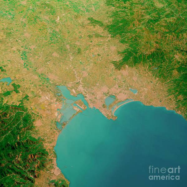 Wall Art - Digital Art - Cagliari Sardinia Italy 3d Render Aerial Landscape View From Sou by Frank Ramspott