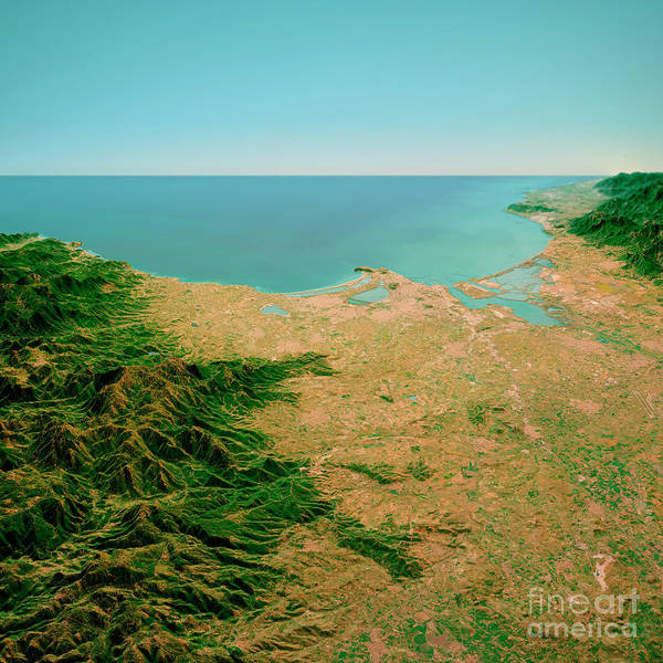 Wall Art - Digital Art - Cagliari Sardinia Italy 3d Render Horizon Aerial View From North by Frank Ramspott