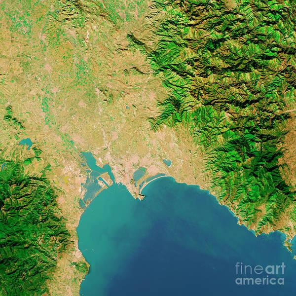 Wall Art - Digital Art - Cagliari Sardinia Italy Topographic Map Top View Mar 2019 by Frank Ramspott