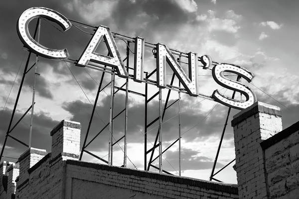 Photograph - Cain's Ballroom Vintage Neon In Black And White - Tulsa Oklahoma by Gregory Ballos