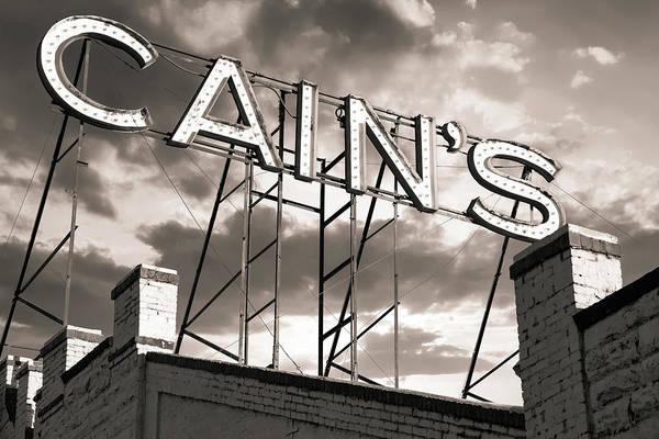 Photograph - Cain's Ballroom Vintage Neon In Sepia - Tulsa Oklahoma by Gregory Ballos