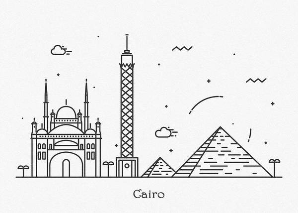 Egypt Drawing - Cairo Cityscape Travel Poster by Inspirowl Design
