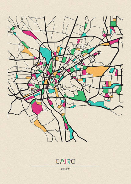 Wall Art - Drawing - Cairo, Egypt City Map by Inspirowl Design