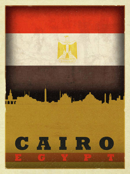 Wall Art - Mixed Media - Cairo Egypt World City Flag Skyline by Design Turnpike