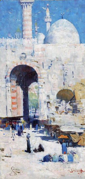 Wall Art - Painting - Cairo Street, Or Mosque, Sultan Hassan - Digital Remastered Edition by Arthur Streeton