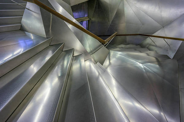 Caixa Forum Wall Art - Photograph - Caixa Forum Madrid Museum Entrance Metal Staircase. by Manuel Ascanio