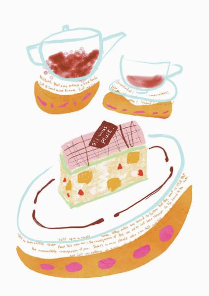 Pencil Drawing Digital Art - Cake And Tea Image by Daj