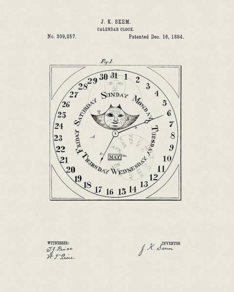 Drawing - Calendar Clock Design by Dan Sproul