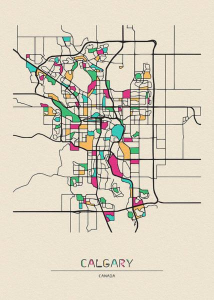 Wall Art - Drawing - Calgary, Canada City Map by Inspirowl Design