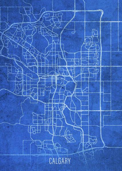 Wall Art - Mixed Media - Calgary Canada City Street Map Blueprints by Design Turnpike