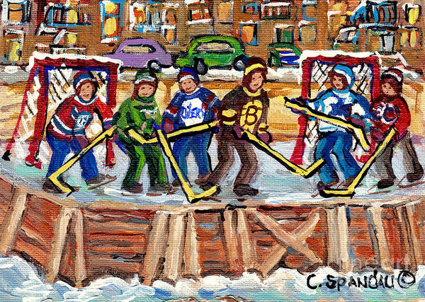 Painting - Calgary Flames Ottawa Sens Toronto Leafs Canadiens Oilers Boston Bruins Hockey Art Outdoor Rinks by Carole Spandau