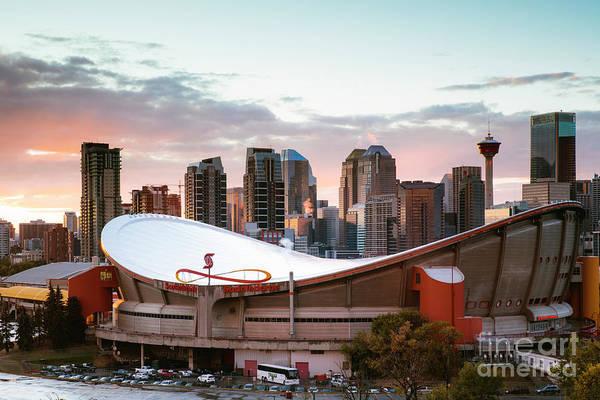 Wall Art - Photograph - Calgary Saddledome At Sunset, Canada by Matteo Colombo