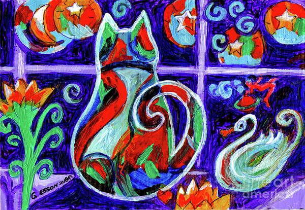 Calico Kitten Wall Art - Painting - Calico Cat In Purple Moonlight by Genevieve Esson
