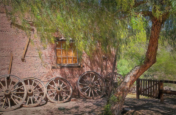 Painting - Calico Ghost Town Wagon Wheels Painting by Barbara Snyder