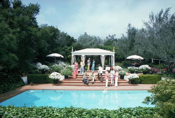 Parasol Photograph - California Pool Party by Slim Aarons